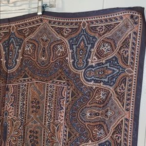 Vintage Accessories - Vtg gray & tan polyester large scarf